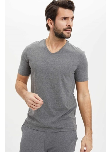 DeFacto Basic Slim Fit T-Shirt Antrasit